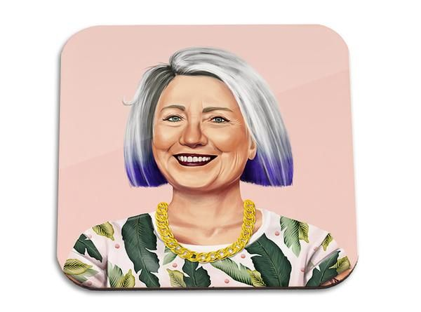 Hillary Clinton wooden coaster