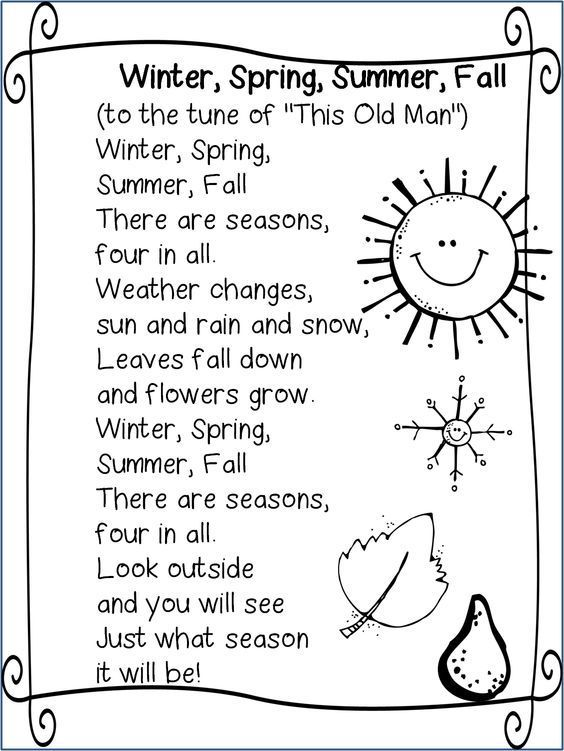Seasons song | Weather and Seasons Preschool Theme | Pinterest ...