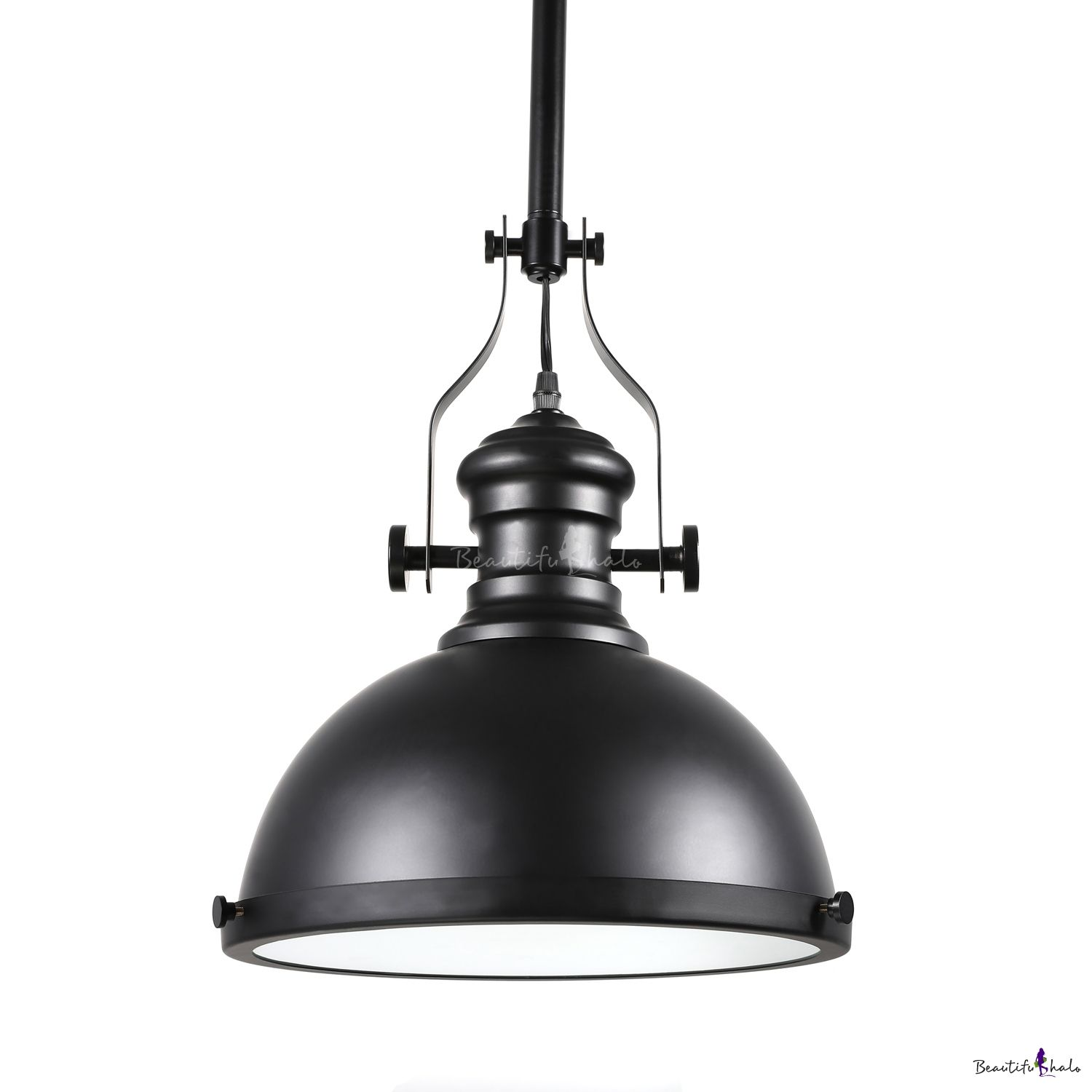 Industrial Style 12 Wide Black Pendant Light With Diffuser