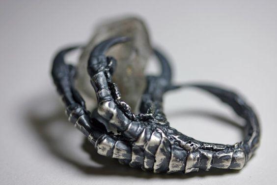 Crow claw & quartz crystal ring. Sterling silver.