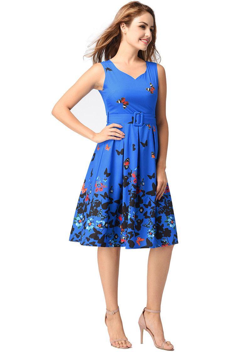2fdba49217fa2 2018 Ruiyige Vintage Dress Floral Print 1950s Style Cute Summer ...