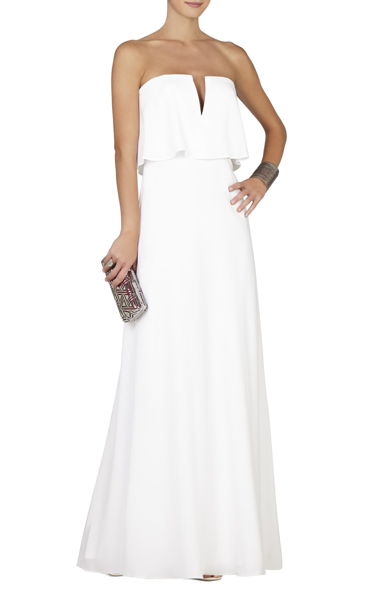 Alyse Strapless Overlay Gown | White Gala Outfit | Pinterest ...