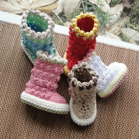 Raindrop Baby Boots Pattern 18 | Häkeln, Handarbeiten und Babyschühchen