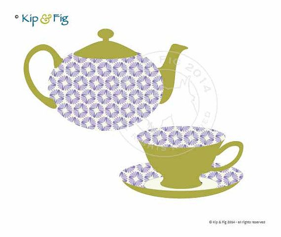 1dc547db5 Teapot and Teacup applique template PDF applique by KipandFig