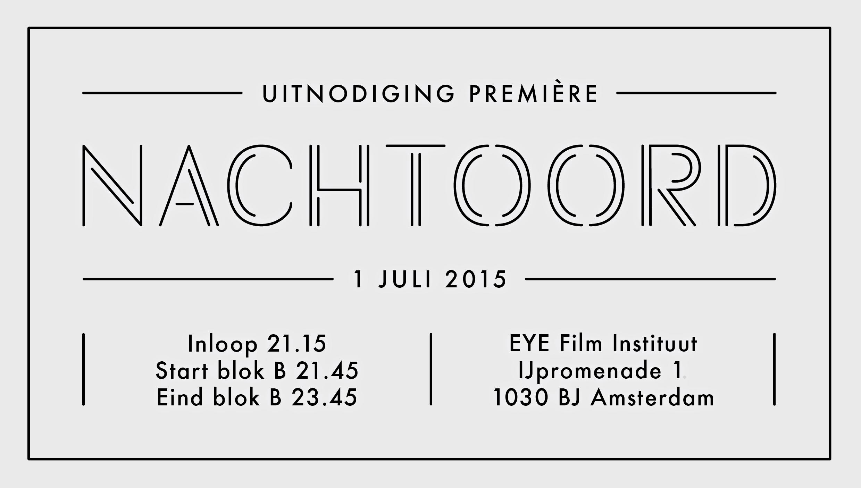 Invitation for the premiere of the short film noir Nachtoord (Nighthaven). Graphic design: Studio Hudson. #film #filmnoir #typography #type #typedesign #logo #design #studiohudson #invitation #graphicdesign
