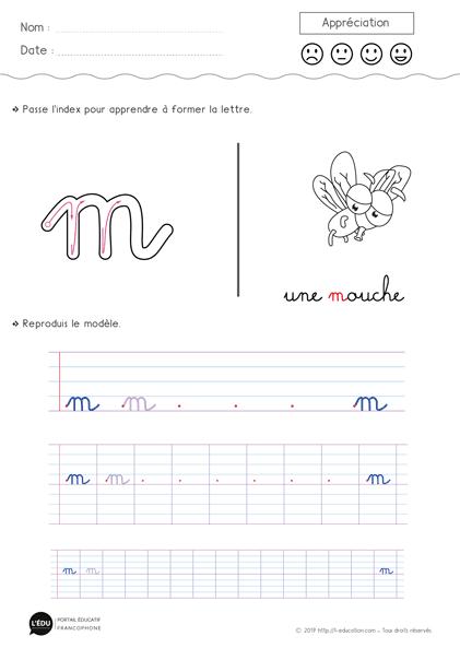 Magnifique contenu sur Écrire la lettre m minuscule