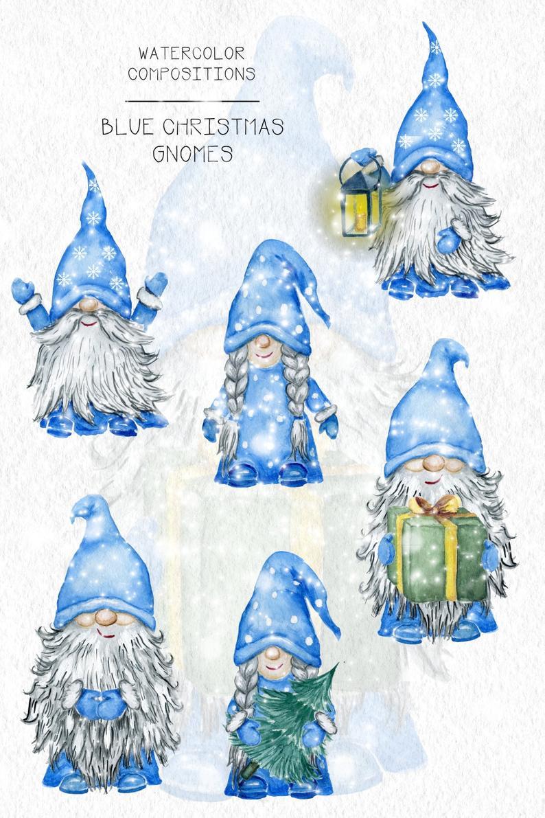 Cute Gnomes Png Christmas Blue Gnomes Yule Clipart Etsy Christmas Paintings Christmas Watercolor Gnomes