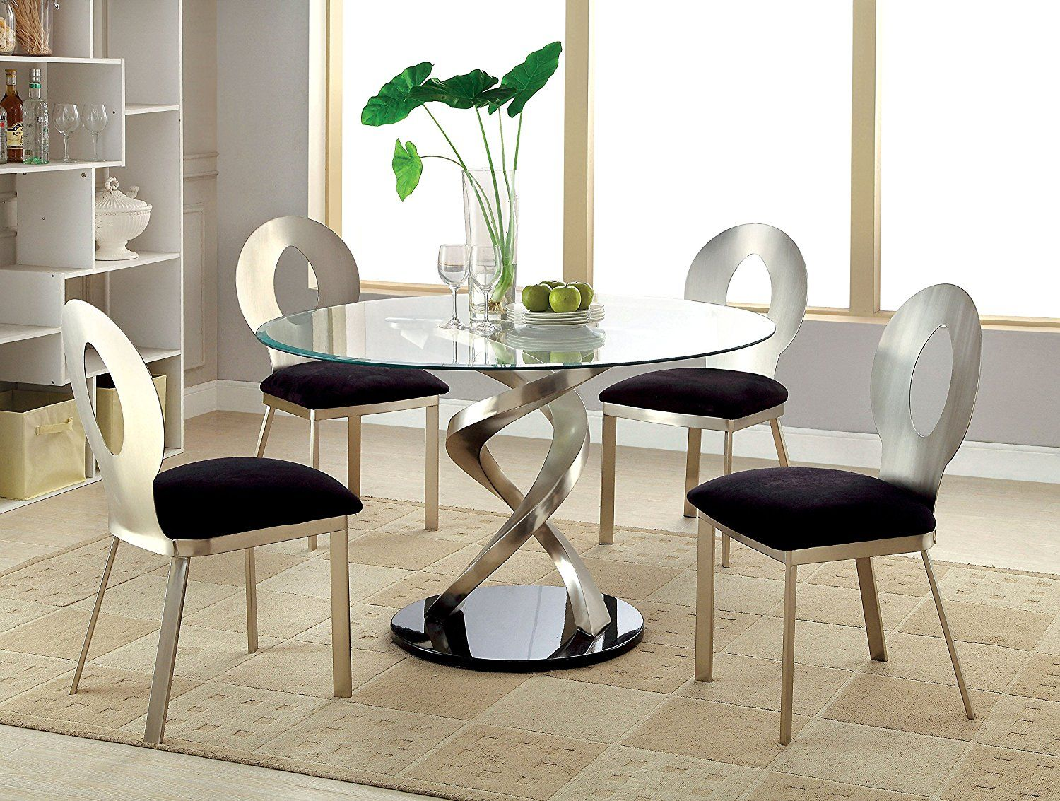 Amazon Com Furniture Of America Catarina I 5 Piece Round Glass