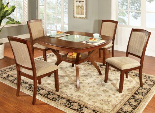 Furniture Of America Orialla 5Piece Dining Table Set With Glass Insert Oak Finish