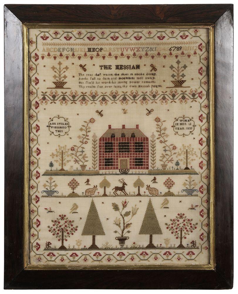 Brunk Auctions - 1832 Schoolgirl Needlework