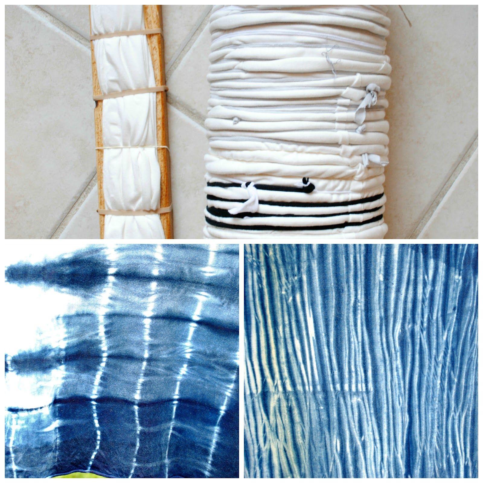 Diy shibori with indigo teinture teinture tissu et tissu - Tie and dye tissu ...