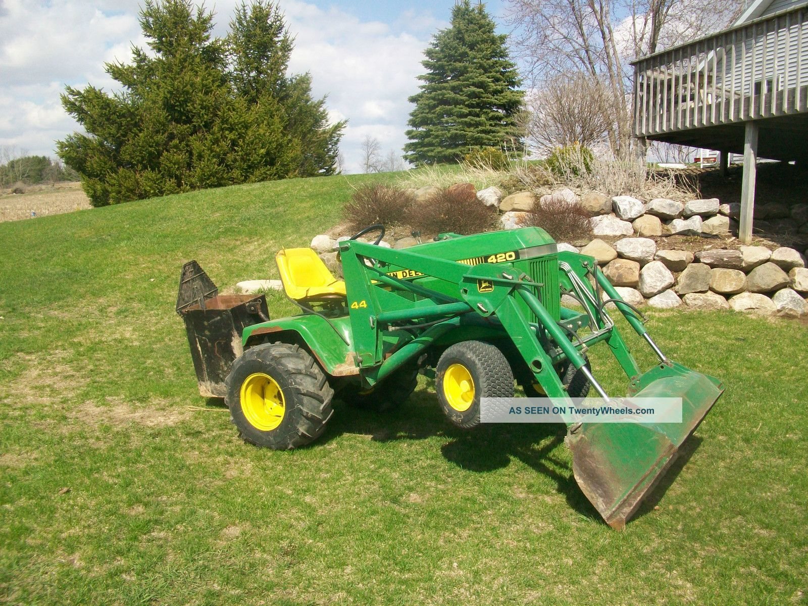 John deere 420 garden tractor john deere 420 garden for Lawn and garden implements