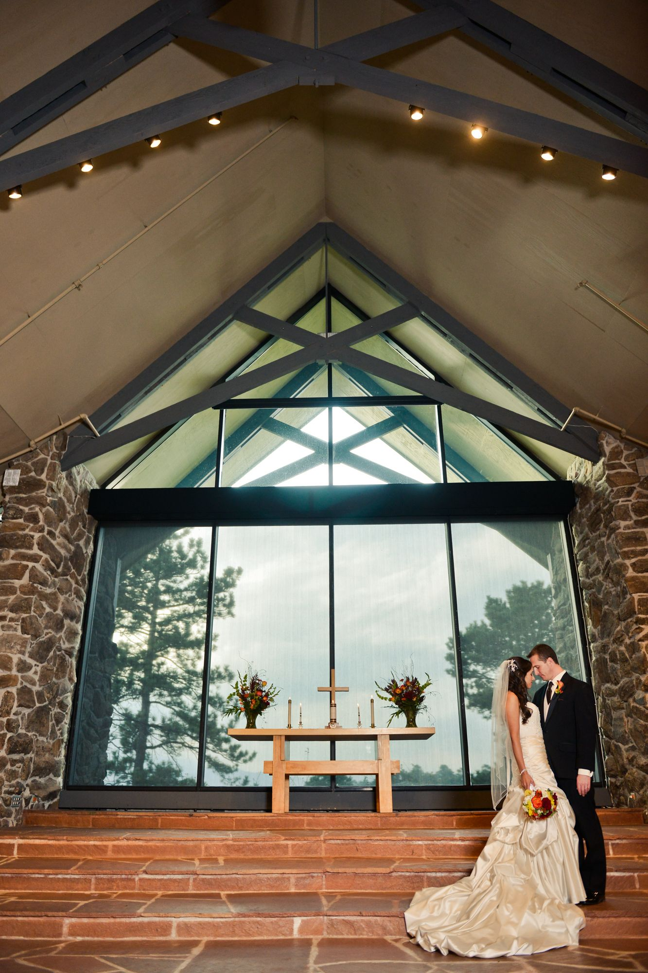 Dramatic wedding photo. Rockland Community Church. Golden ...