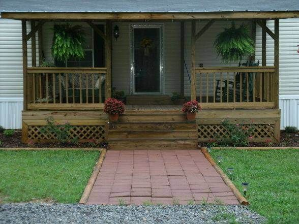 Small Front Porches, Decks And Porches, Front Porch Design, Front Porch  Deck, Screened Porches, The Porch, To Mobile, Mobile Homes, Porche Design