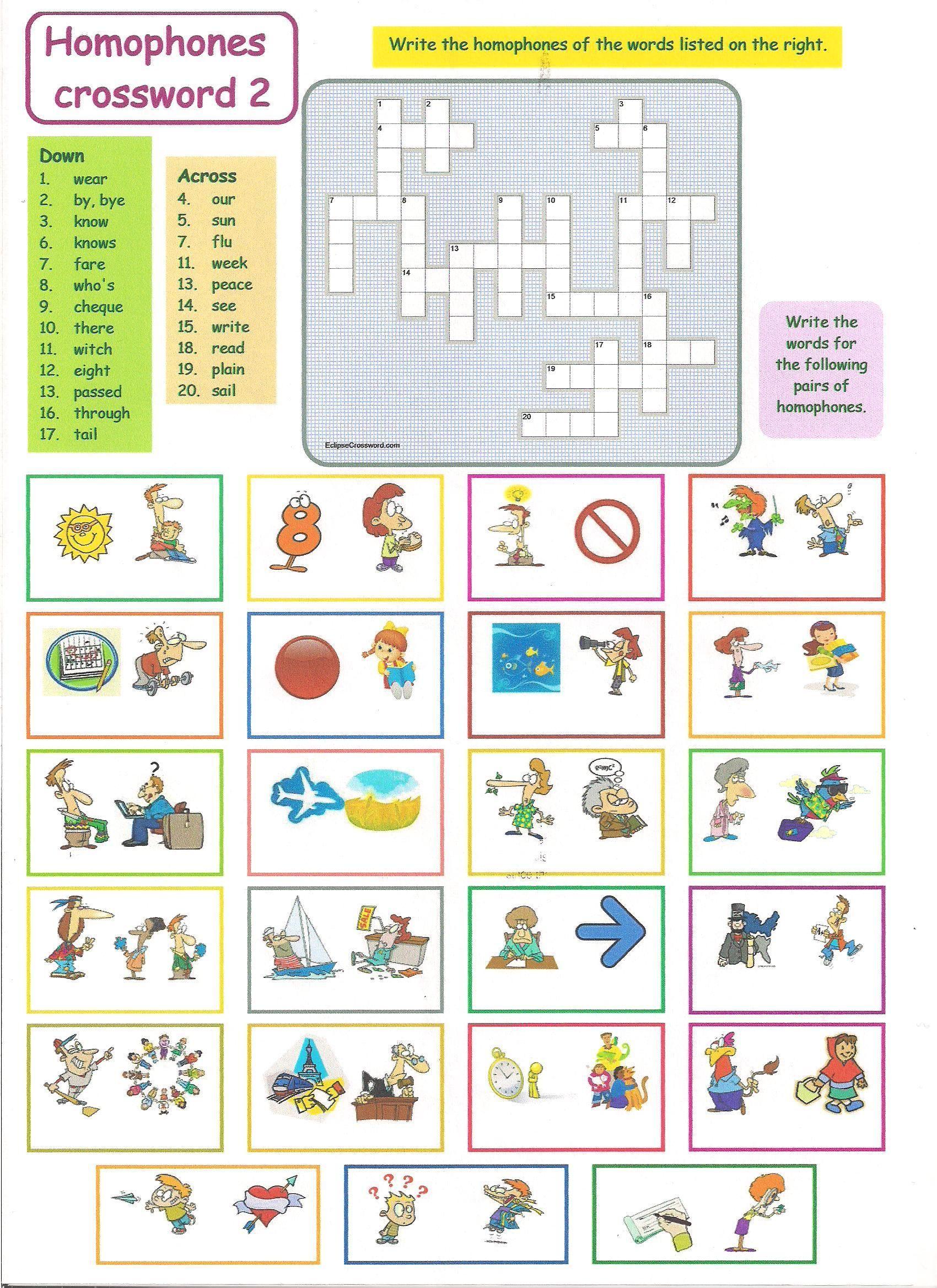 Homophones Crossword