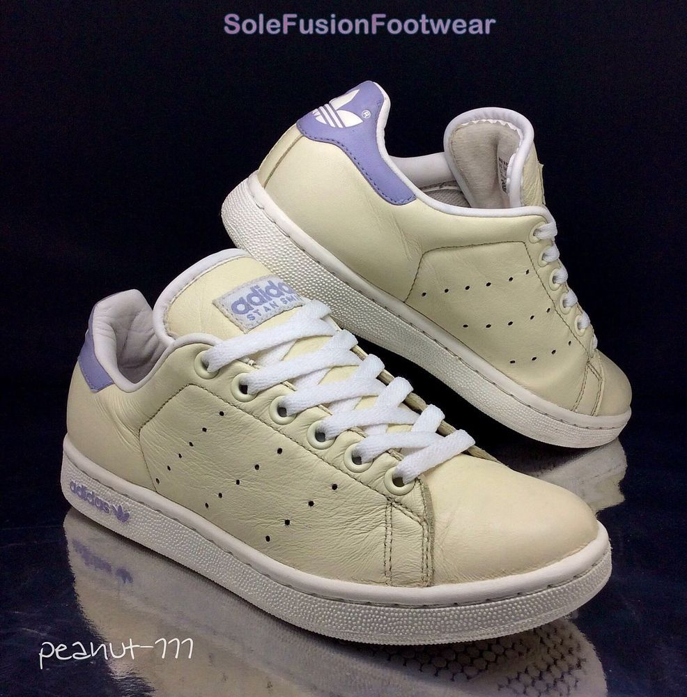 adidas originali donne stan smith crema / lilla formatori sz 4 us