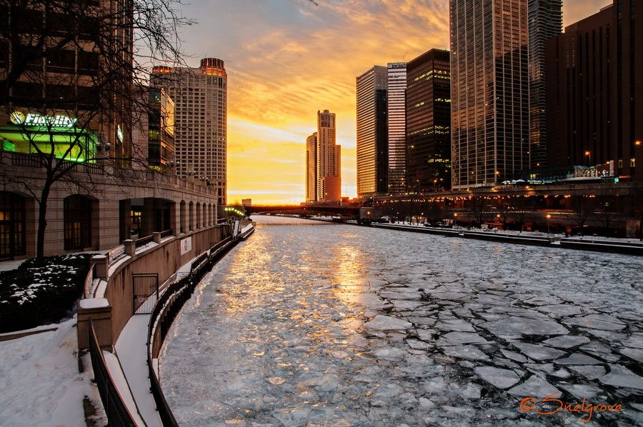 Chicago Sunrise America City Hd Wallpaper City City hd wallpapers download