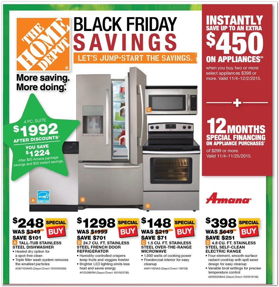 Home Depot Black Friday Appliance Ad 2015 Appliance Sale Black Friday Appliances Home Depot
