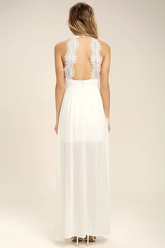 b90165f7d95 Take the My Beloved White Lace Maxi Dress out for a twirl and turn some  heads! Medium-weight knit shapes a high