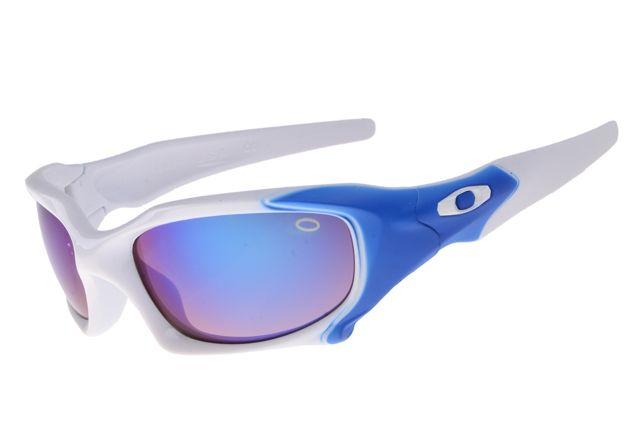 blue and silver oakley sunglasses  oakley pit boss white blue frame colorful lens 2016
