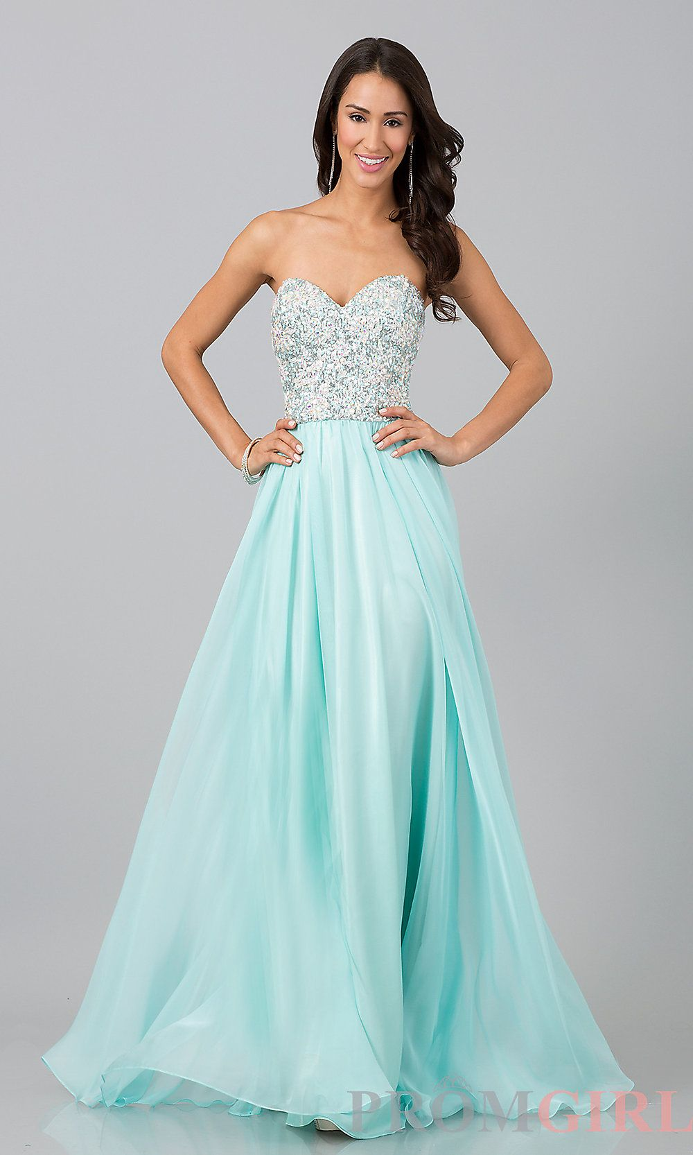 Strapless Long Beaded Prom Dress, Beaded Gown- PromGirl $132 | Sweet ...