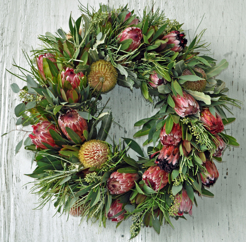 Fall Protea Wreath Protea CaGrown Christmas wreaths