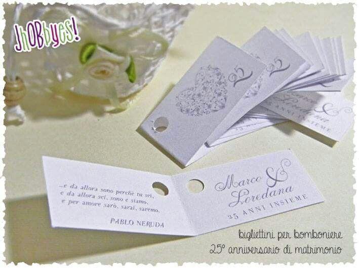 Bigliettini Matrimonio Bomboniere.Bigliettini Bomboniere 25 Anniversario Di Matrimonio