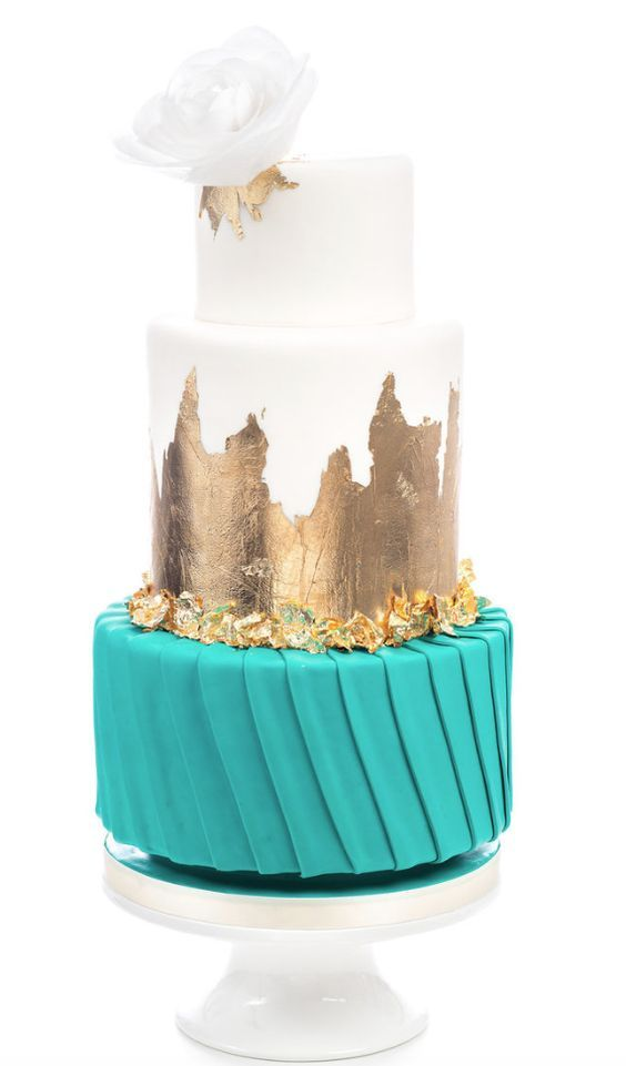 Three Tier White Gold And Turquoise Wedding Cake