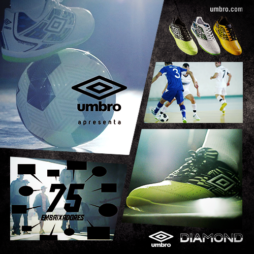 6ae4a9e2c8b44 Umbro Diamond  tênis de futsal feito em parceria com atletas amadores