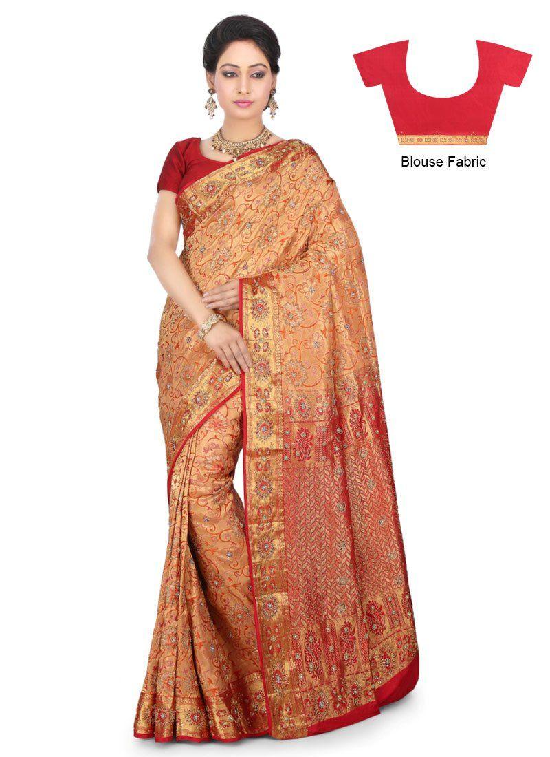Pure silk saree buy peach kancheepuram pure silk saree online from the wide