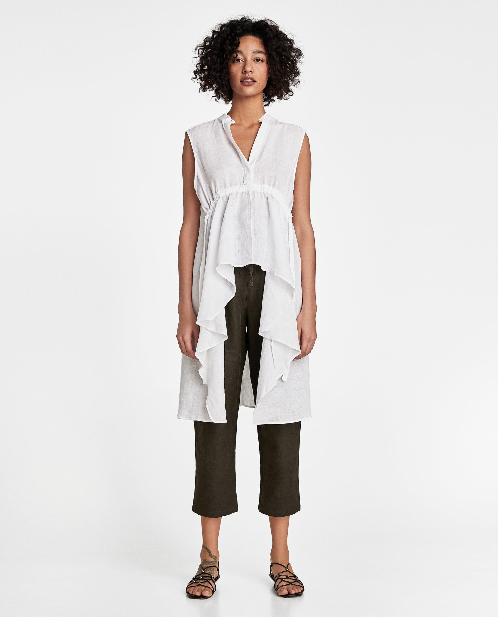 6d4bb895710 TÚNICA LINO ASIMÉTRICA   Projects to Try   Linen tunic, Zara women ...