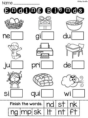 Ending Blends Worksheets and Activities | TpT Language Arts Lessons ...