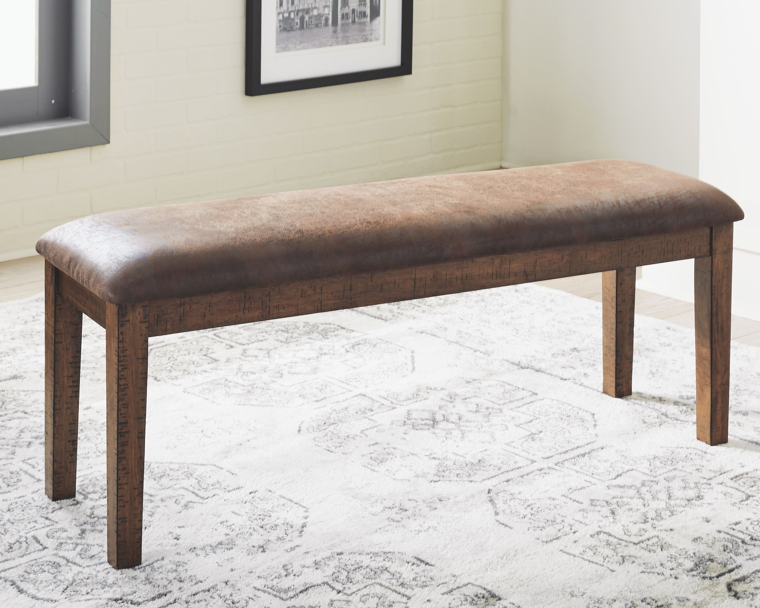 Royard Dining Room Bench Warm Brown With Images Dining Room Bench Upholstered Dining Bench Leather Furniture