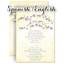 Pequenas Flores Freesia Invitation Bilingual Wedding Invitations Wedding Invitations Spanish Wedding Invitations