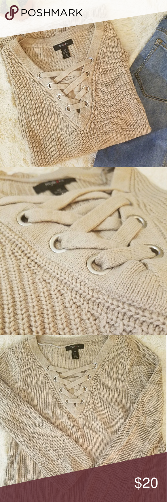 Style&Co Lace Up Sweater XS Tan | Tunic sweater, Layering style ...