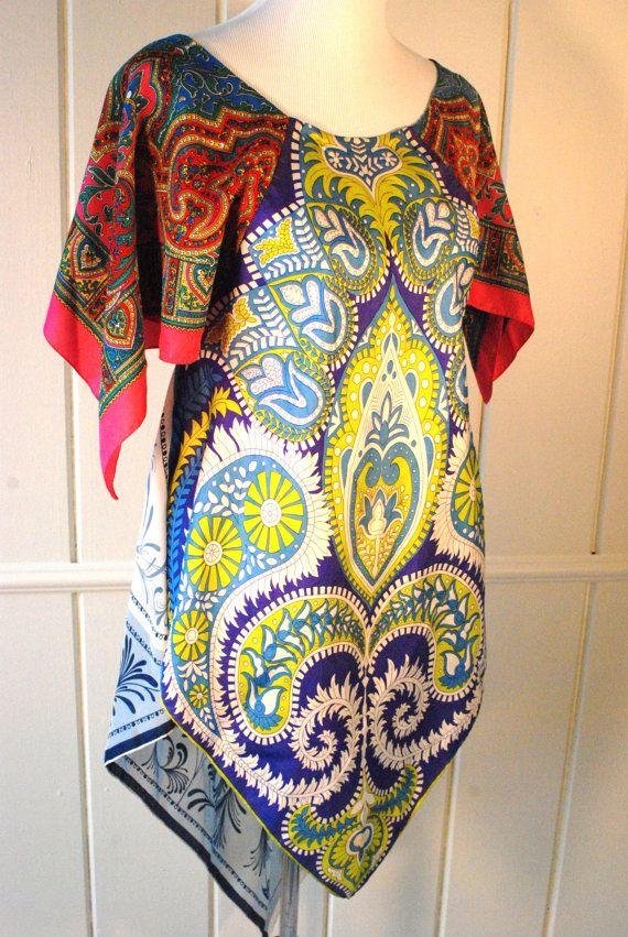 Vintage Silk Scarves Scarf Top Dress Patchwork By Hippiewild