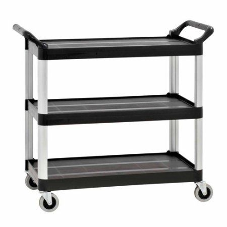 3-Shelf 34 inch x 20 inch Heavy Duty Utility Cart with 4 inch Casters