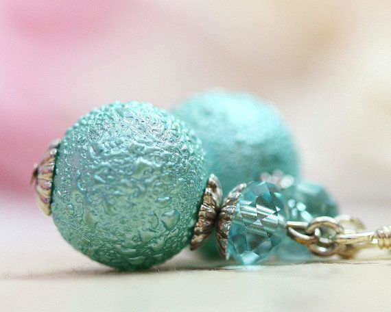 Blue Pearl Earrings Drops Glass Pearl Dangles Sky by TrinketHouse
