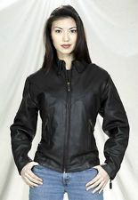 Ladies Quality Cowhide Leather Riding Jacket LJ248 Black XS Zippered Cuffs NEW