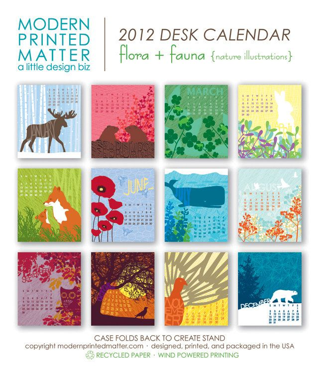 2012 Flora  Fauna Desk Calendar Flora, Desks and Etsy