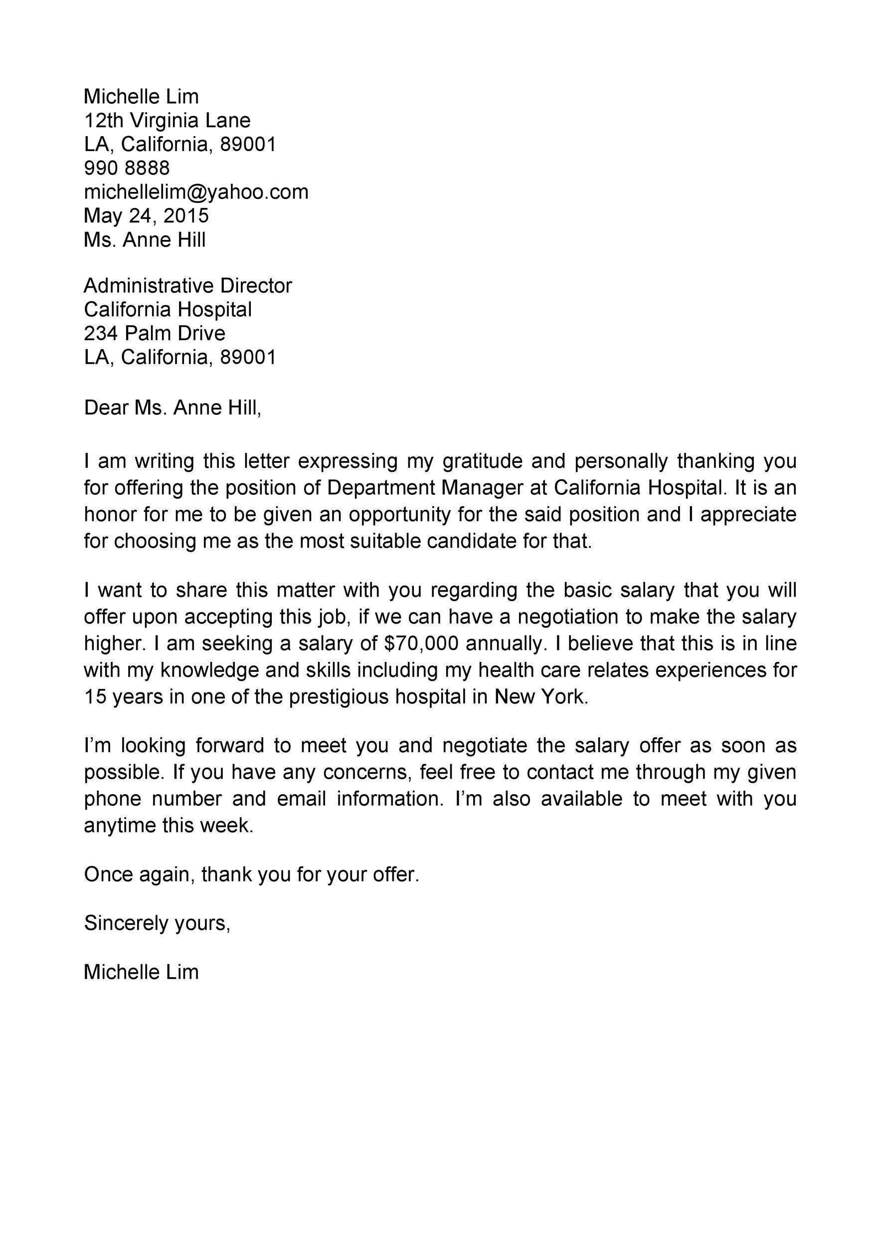 Job Offer Negotiation Letter Sample in 2020 Letter