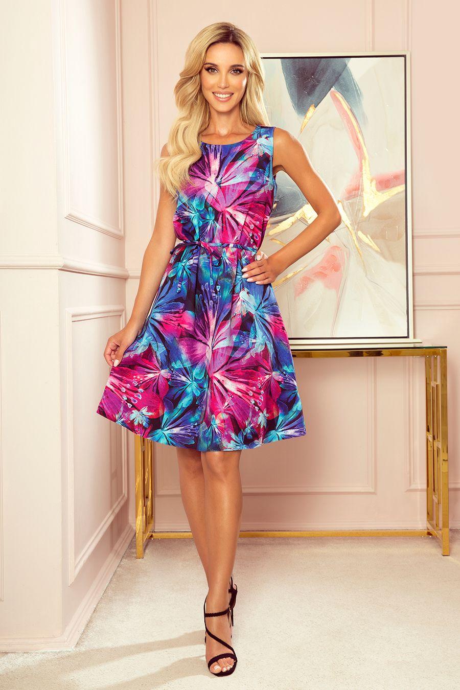 296 3 Victoria Trapezowa Sukienka W Niebiesko Rozowe Kwiaty Dresses Fashion Dresses Women S Fashion Dresses