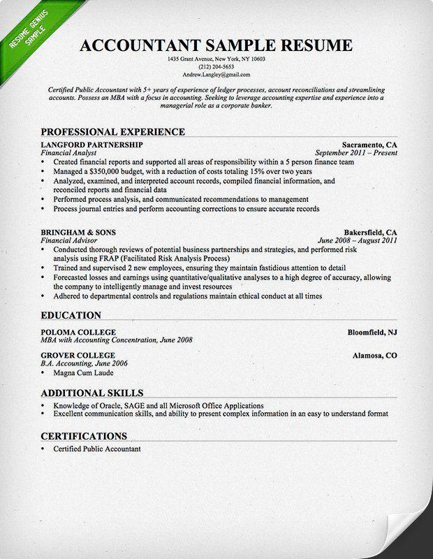 Accountant Resume Format 2019 2020 Accountant resume