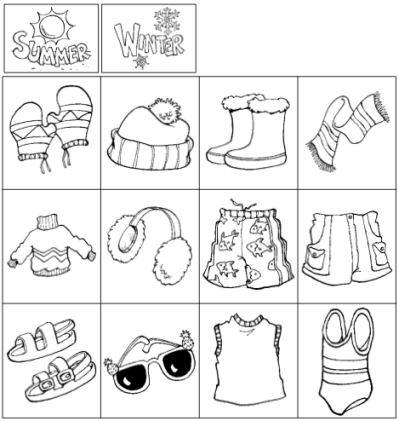 summer winter clothes preschool worksheets Yahoo Search