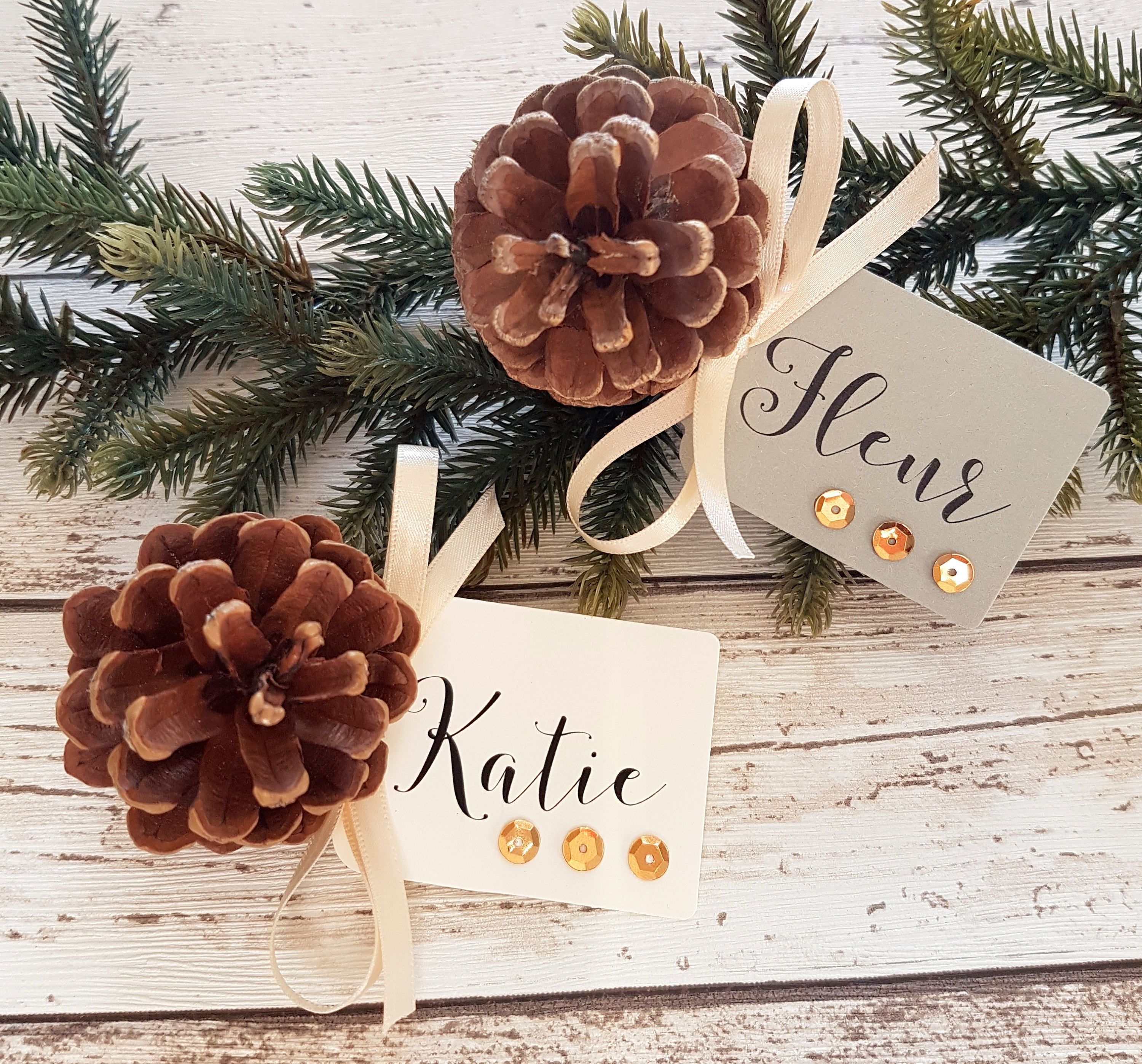 Christmas Place Card Pine Cone Xmas Name Tags Place Names Grey Or Cream With Metalli Christmas Place Cards Gold Christmas Decorations Christmas Dinner Table