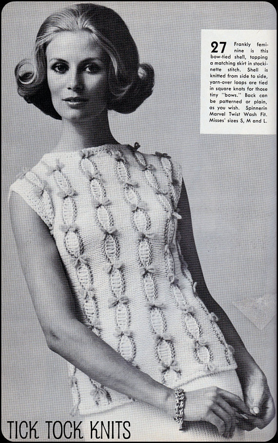 No.96 PDF Vintage Knitting Pattern For Women - Tiny Bows Sleeveless ...