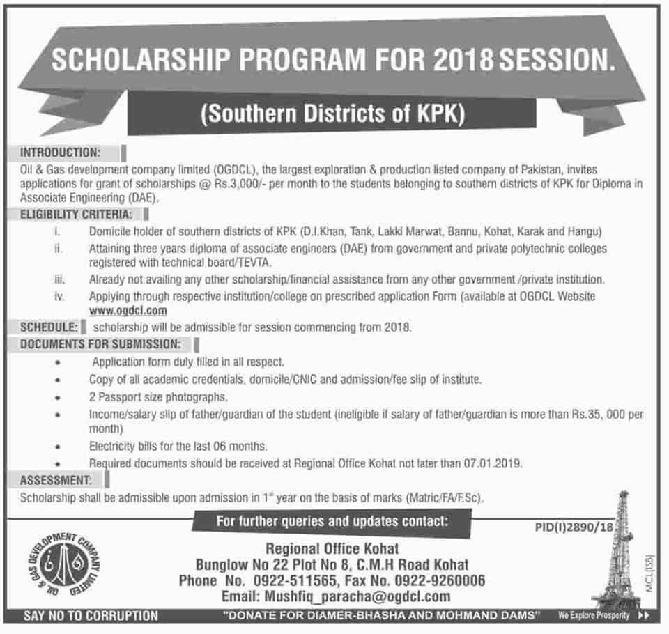 Ogdcl Scholarship Program 2019 For Kpk Student Apply Now Subject