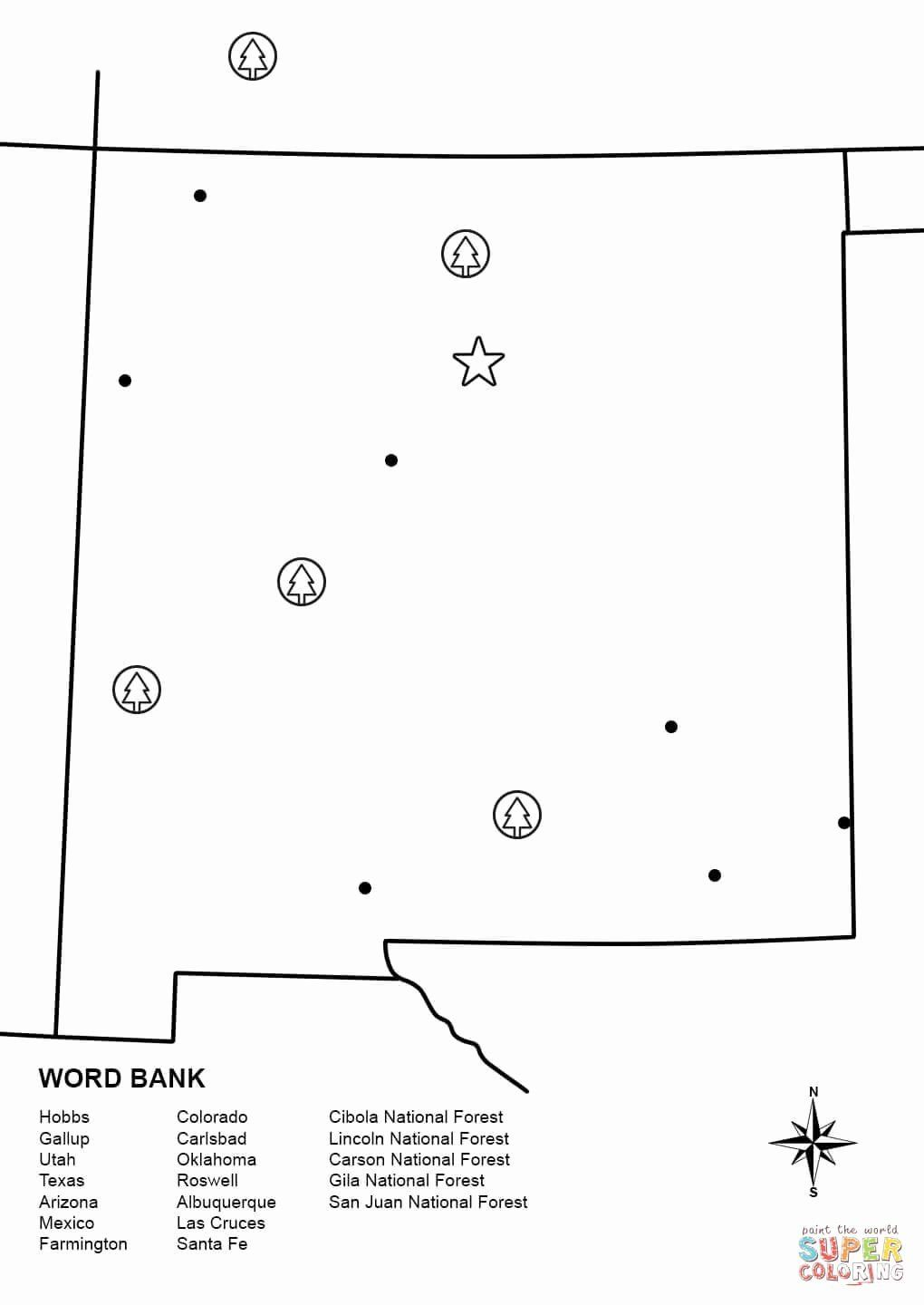 New Mexico Flag Coloring Page Elegant New Mexico Map Worksheet
