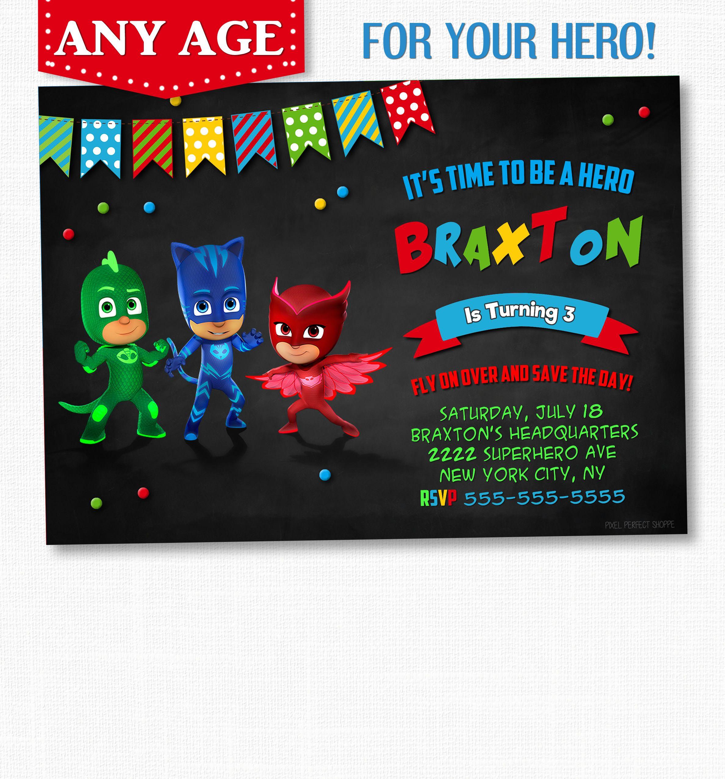 PJ Masks Birthday Invitations, PJ Masks Birthday, PJ Masks ...