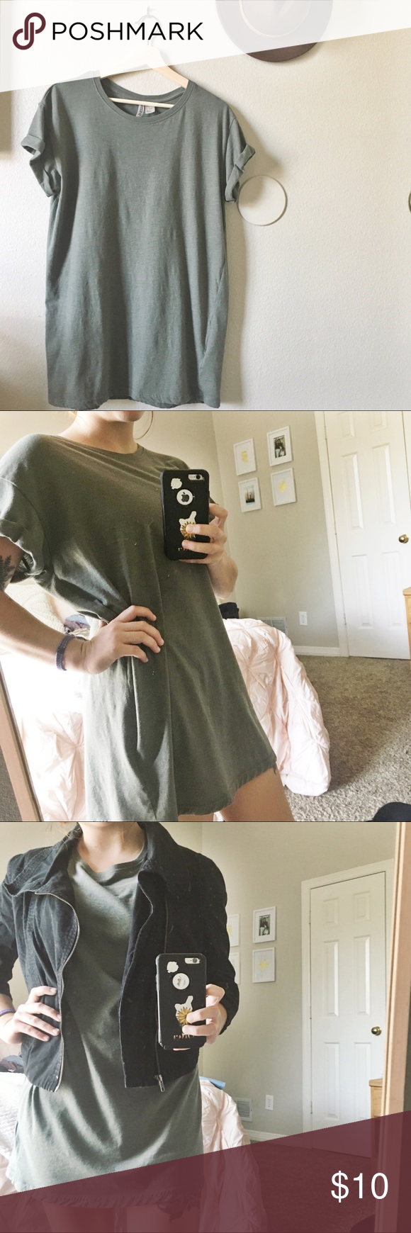 8c86317d2044f H M olive green T-shirt dress Worn once! Can dress up or down. The jacket  in the model picture is also for sale. H M Dresses Mini